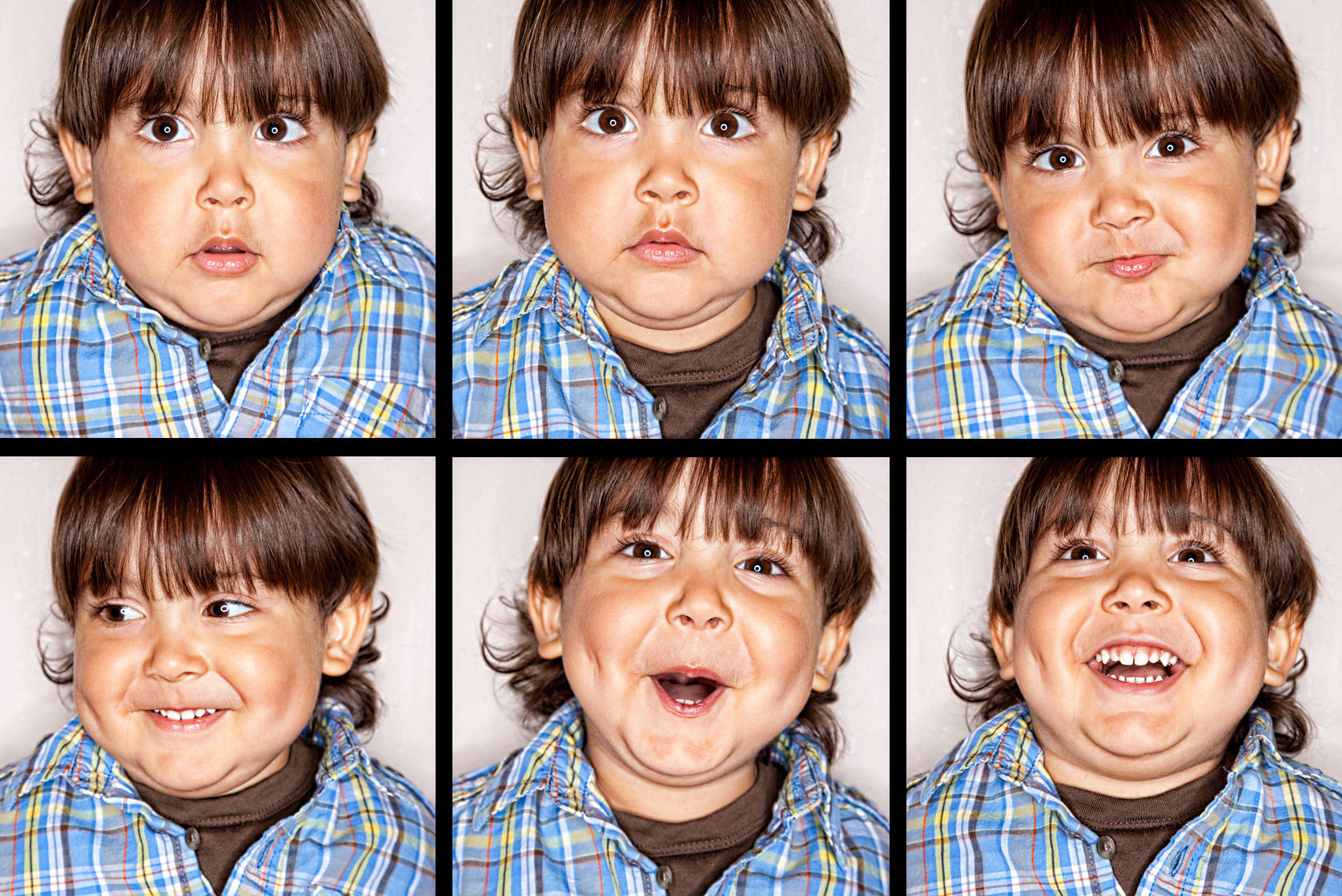 Series of 6 ring-lit portraits of young boy.